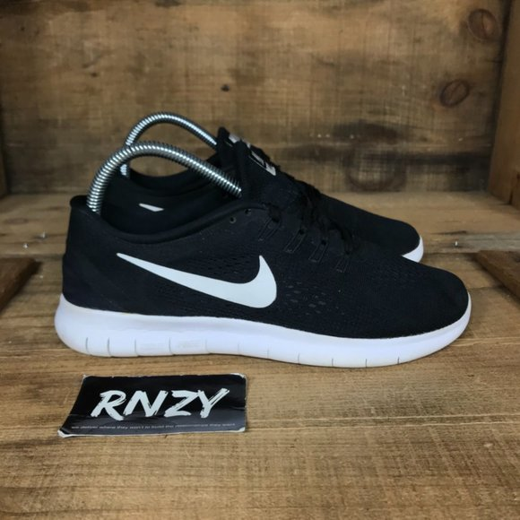 Nike Free Run Black White Cushioned Running Shoes
